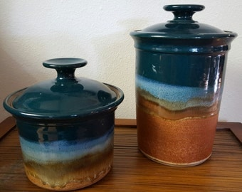 2 Clarksville Pottery Containers with Lids