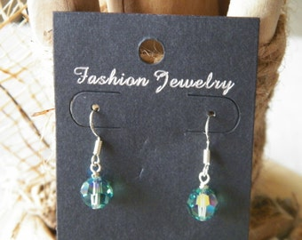 Green swarovski crystal earrings on sterling silver hooks