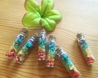 Rainbow Crystal Bottle Pendant