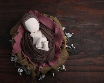Knit newborn baby bonnet neutral brown cream speckled RTS