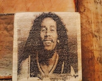 Bob Marley print on wooden block