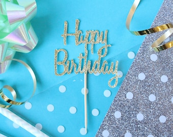 Happy Birthday Cupcake Topper // Birthday Topper // Cupcake Topper // 1st Birthday // Glitter Birthday // Happy Birthday Topper // Set of 12