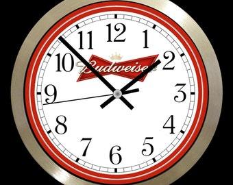 Budweiser Bar, drink, beer, lager large  Wall Clock