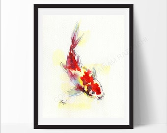 Print of koi carp from my original Watercolour Painting