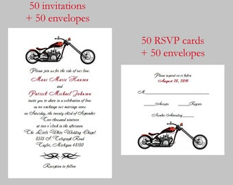 50 Personalized Custom Harley Davidson Chopper Motorcycle Bridal Shower  Rehearsal Wedding Invitations Announcement Sets