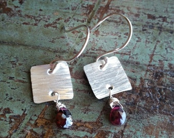 The Meredith. Handcrafted sterling silver earrings with purple briolette.