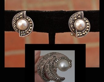 Vintage Judith Jack Sterling Silver Pearl and Marcasite Earring and Brooch Set