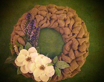 Burlap Wreath with Flower accents