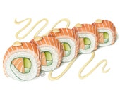 Salmon roll art - sushi artwork - asian food art - sushi painting - food art print - sushi illustration - asian decor - maki rolls painting