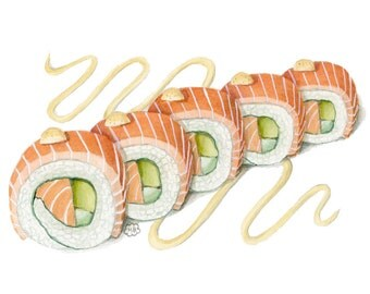 Sushi Roll Art Print - salmon roll art - asian food painting- sushi painting - sushi illustration -