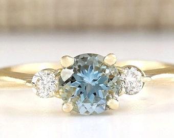 1.20 Natural Aquamarine And Diamond  Ring in 14k Yellow Gold