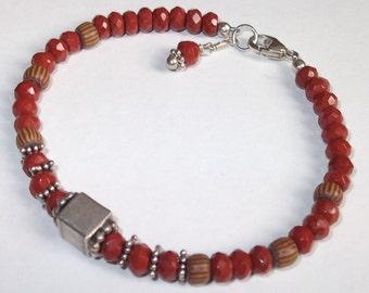 Red Jasper & Sterling Beaded Bracelet