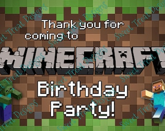 Mine Craft Inspired Thank You Cards for Treat/Loot Bag - (Digital File - Editing included)