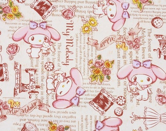 """My Melody Character Fabric made in Japan, 45cm by 53cm or 18"""" by 21"""""""