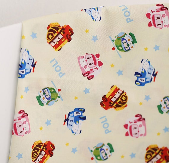 Robocar poli korean anime character fabric made in korea for Kids character fabric