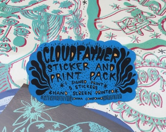 cloudfather sticker and print pack