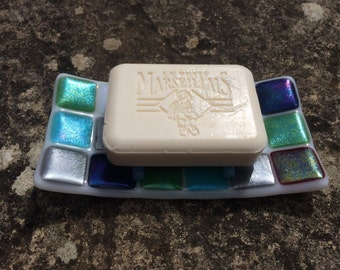 Iridescent fused glass soap dish