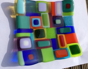 Multicoloured retro fused glass dish