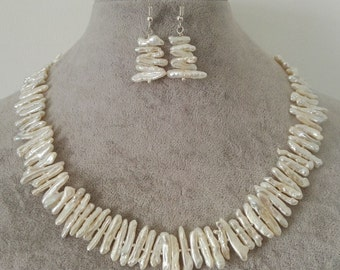 Pearl necklace earring set- white Biwa pearl necklace, Biwa pearl earring,white Baroque pearl necklace, white Baroque pearl earrings set