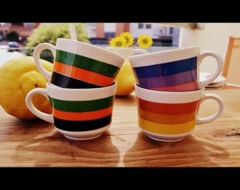 4 rainbow striped coffee cups retro Sacavem porcelain cups Portuguese ceramics made in Portugal Vintage 1970s