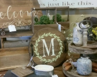 Personalized wood round tray monogram wreath kitchen tray