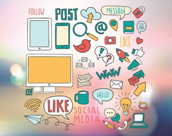 Social media vector - Facebook Twitter Instagram Pinterest Iphone Computer in Svg, Dxf, Ai, Pdf, Png, Eps file formats for cutting programs