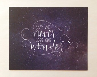 wonder || hand lettered print
