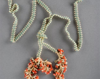 Turquoise, sand & coral lariat