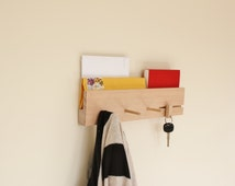 Key and Mail Holder With Wooden Key Ring, Coat Rack Three Pegs