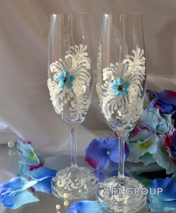 Wedding Flowers By Price: Sale Special Price Wedding Flutes Blue Flower By