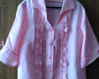 Linen Blouse With Embroidery And Broderie Anglaise. Pink Color