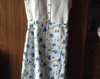 """Linen Dress. Pure Linen Dress With Pattern """"Bluebells""""."""