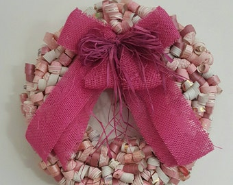 Pink & white curly paper wreath
