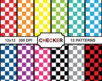 Digital Paper - Checker - Scrapbooking Printable Paper Pattern Pack - Instant Download - DP041602 - Checker Patterns, Checker Papers