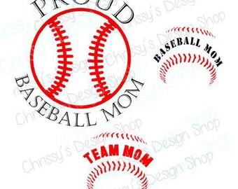 Proud Baseball Mom SVG word bundle / Team Mom svg / Proud mom svg / sports svg / baseball lace svg / vinyl crafting / baseball clip art