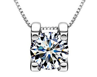 Silver Plated Diamond Necklace Classy Pendant - Elegant Gift Box