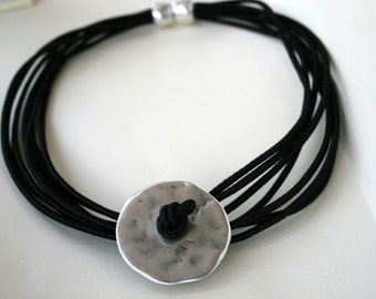 BLACK Silk cord Necklace, Boho Chic Silk Cord Necklace, Magnetic Clasp, Silver Plated Disk,Under 50 Gift for Her valentines