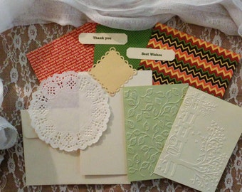 11pc Embossed Cardstock, label, and embellishment lot #2.  Journal, Crafts, DIY, Scrapbook, Card-making. Fall theme