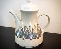 Coffee pot vintage. Violet blue white ceramic