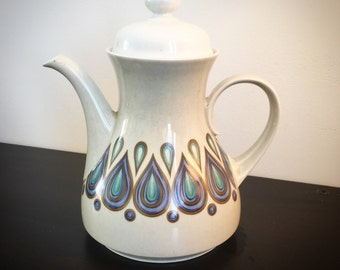 Coffee pot vintage. Violet blue white ceramic