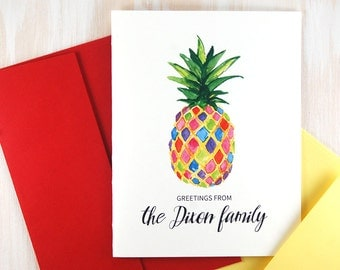 Family Personalized Stationery, Pineapple Notecards, Housewarming Gift, Watercolor Pineapple Art Cards Handmade, Custom Stationary Set of 10