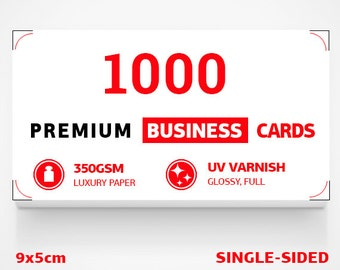 1000 double sided business cards + 350gsm + UV varnish