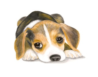 Beagle Puppy canvas board print