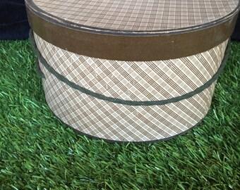 Brown Plaid Retro Hat box 1950's.  Round Travel Hat Box.