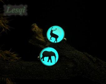 Glow Deer and elephant Cufflinks,Monogram Cufflinks,Custom Wedding Cufflinks,Stainless steel cufflinks,Glow in the dark