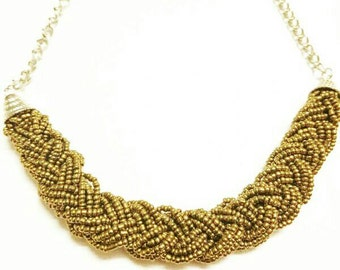 Gold braided bead necklace, gold beaded necklace, gold multistrand necklace, multistand beaded necklace, gold multistrand beaded necklace