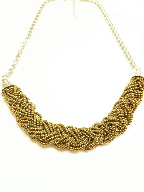 gold braided bead necklace gold beaded by cherrisesjewelry