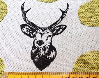Kokka- Gold Stag Head - Jacquard by Echino