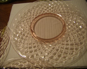 Three Vintage Pink Pressed Glass Plates