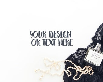 Black Lace with Spirits and a String of Pearls on a White Desktop #4 / Stock Photography / Product Mockup / High Res File